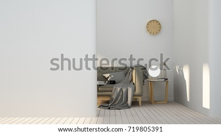 The interior empty space relax space furniture and background decoration minimal - 3d rendering  #719805391