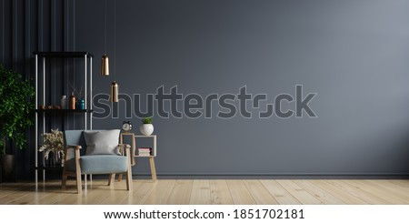 The interior has a armchair on empty dark wall background,3D rendering