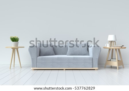 The interior has a gray sofa and lamp on empty white wall background,3D rendering #537762829