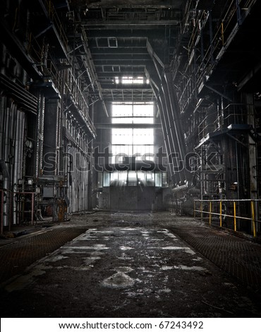 The interior of a machine hall at an abandoned industrial area