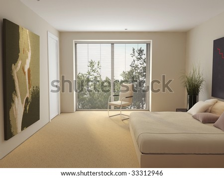 The interior of a modern house.Space.Estate.Beaty.Daylight.3d image.