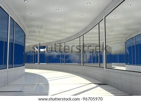 The interior of a modern office.