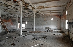 The interior of an abandoned industrial building