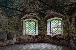 the interior of an abandoned temple, the temple complex of the village of Ilyinsky on the Shacha River, Kostroma region, Russia, built in 1760, 1772. The complex is currently abandoned