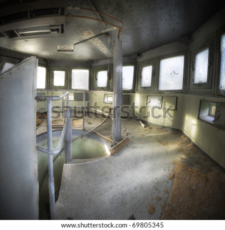 The interior of an old lookout tower dating from the cold war.