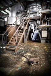The interior of an production room at an abandoned sugar factory