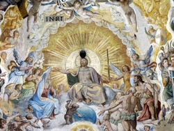 The interior of Duomo - Florence. Inside the cupola: 3600 m2 of frescoes, created by Giorgio Vasari and Federico Zuccari, who worked there from 1572 to 1579.