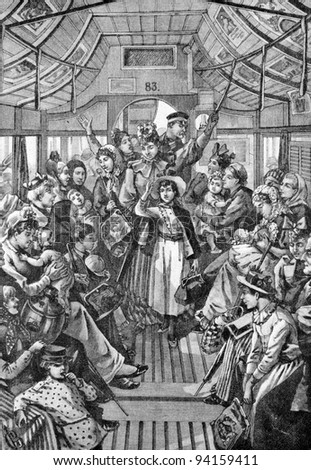 "The interior of horse tram. Engraving by Schyubler from picture by painter Brolling. Published in magazine ""Niva"", publishing house A.F. Marx, St. Petersburg, Russia, 1893"