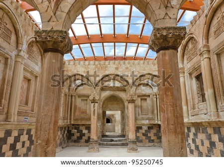 the interior of Ishak Pasha`s palace in eastern turkey