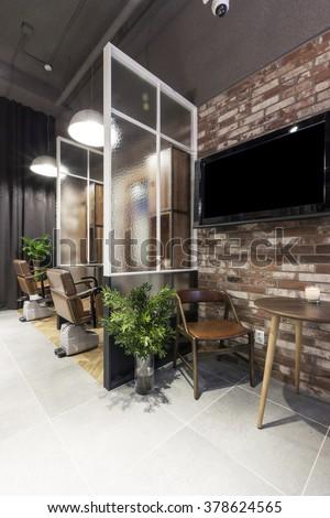 The Interior of modern(organic, vintage, natural) hair salon(beauty ...