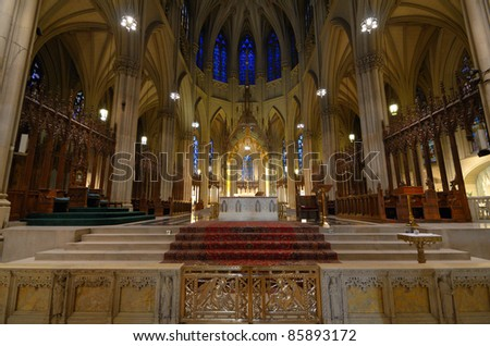 The Interior of Saint Patrick's Cathedral in New York City, a landmark Roman Catholic Cathedral in Manhattan.