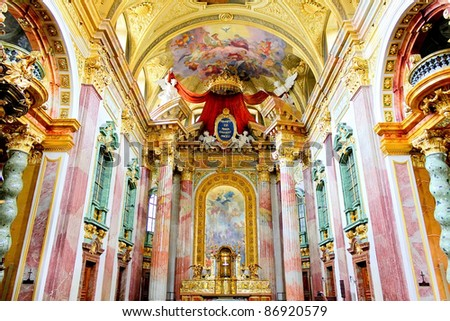The interior of the beautiful Jesuit Church (Jesuitenkirche), a two-floor, double-tower church in Vienna, Austria, influenced by early Baroque principles but remodeled by in 1703-1705.