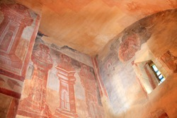 The interior of the Church of the Transfiguration on Ilyin Street in Veliky Novgorod, Fresco painting by the outstanding Byzantine master Theophanes the Greek on the walls