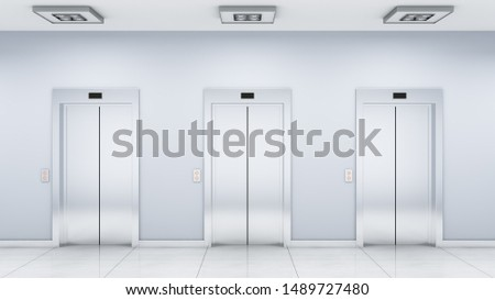 the interior of the hall with the elevators (3d rendering)
