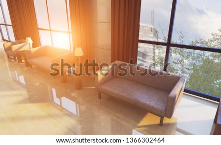 The interior of the large lobby with marble walls in the hotel. Reception. Business background.. Sunset. 3D rendering #1366302464