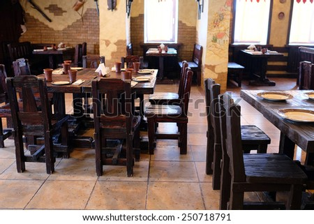 The interior of the restaurant in the old Russian style