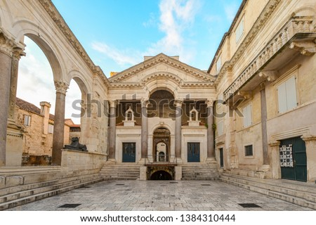 The interior peristil or peristyle of the ancient Diocletian's Palace in the old town area of Split, Croatia early in the morning before tourists arrive.