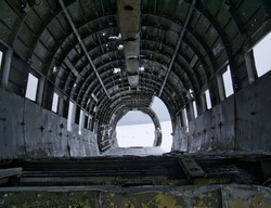 The interior view of the crashed DC-3 plane wreck in Iceland
