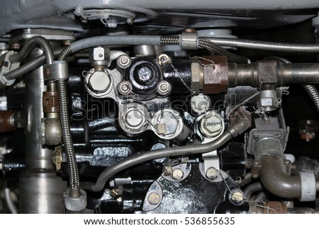 the internal structure of the aircraft engine, army aviation, military aircraft and aerospace industry #536855635