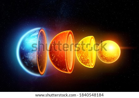 The internal structure of the earth, the structure of the core, geological layers on a dark background of space. Concept geology of the earth, magma, lithospheric shifts. 3D illustration, 3D render Foto stock ©