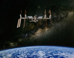 The International Space Station above the Earth, with the Milky Way in the Background. Elements of this image furnished by NASA.