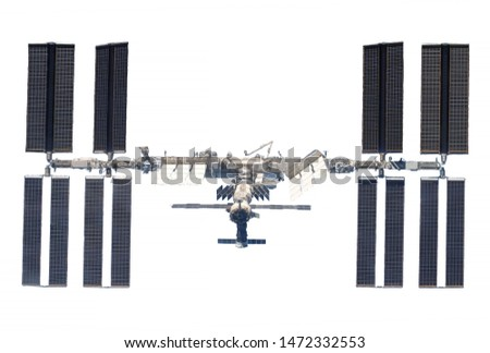 The International Space Station, the ISS developed, isolated on a white background. Elements of this image were furnished by NASA.