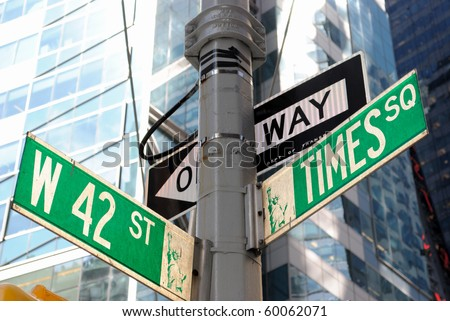 the intersection of 42nd street and Times Square in New York City. - stock photo
