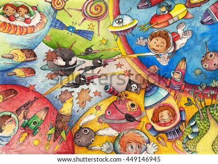 The Interstellar Age in Children's Eyes. Watercolor Artwork