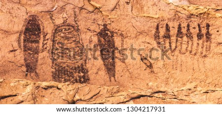 The Intestine Man Panel, a small, but intricate set of pictographs in Barrier Canyon Style rock art near Seven Mile Canyon and on the way to Canyonlands National Park near Moab, Utah, United States.