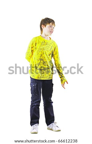 The inviting boy in a yellow sweater on a white background - stock photo
