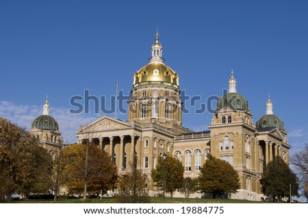 The Iowa State Capitol Building in downtown Des Moines
