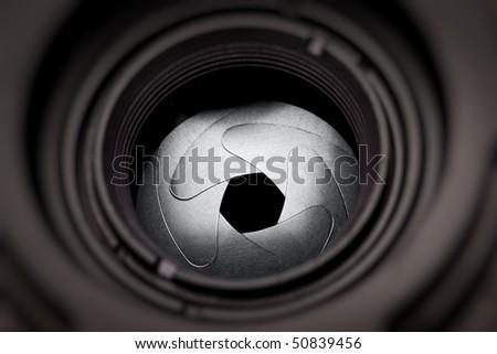 The iris diaphragm of old camera lens, macro
