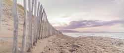 The Irish coastal of Strandhill County Sligo on the Wild Atlantic Way. The beach at sunset on a calm winters evening.