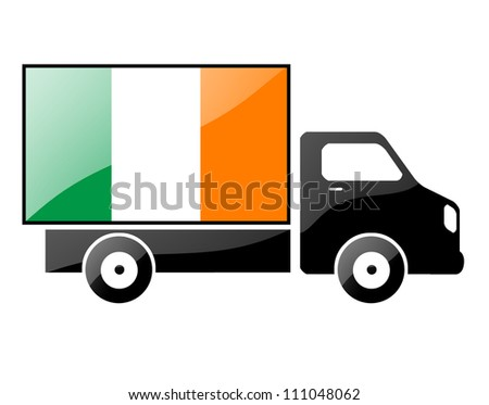 The irish flag painted on the silhouette of a truck. glossy illustration