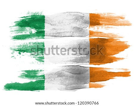 The irish flag painted on white paper with watercolor