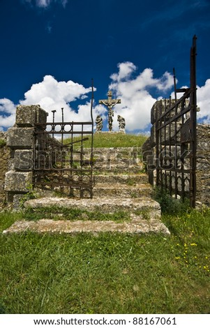The iron gate of the entrance of calvary in Zminj