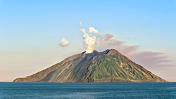 The island Stromboli near Sicily on Tyrrhenian sea. Stromboli is the most active volcanoes in Europe.