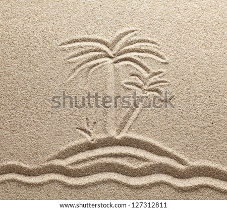 The island with palm trees in the sea is drawn on sand