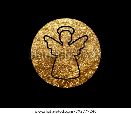 The isolated golden glitter Christmas angel flat icon on black background #792979246