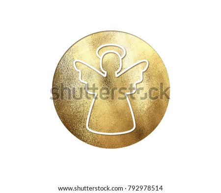 The isolated golden glitter Christmas angel flat icon on white background #792978514