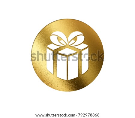 The isolated golden glitter Christmas gift box flat icon on white background #792978868
