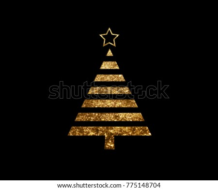 The isolated golden glitter Christmas tree flat icon on black background #775148704