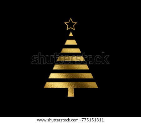 The isolated golden glitter Christmas tree flat icon on black background #775151311