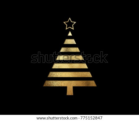 The isolated golden glitter Christmas tree flat icon on black background #775152847