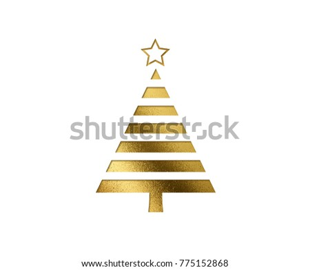 The isolated golden glitter Christmas tree flat icon on black background #775152868