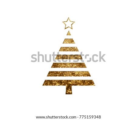 The isolated golden glitter Christmas tree flat icon on black background #775159348