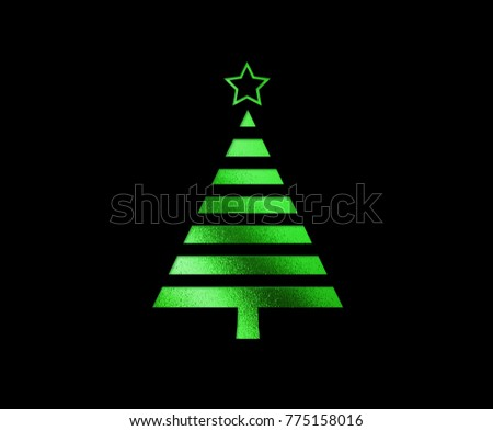 The isolated green glitter Christmas tree flat icon on black background #775158016