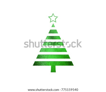 The isolated green glitter Christmas tree flat icon on black background #775159540