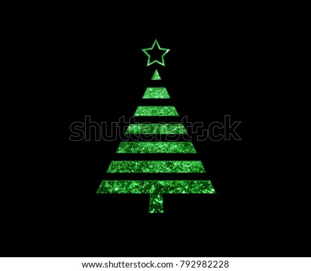 The isolated green glitter Christmas tree flat icon on black background #792982228
