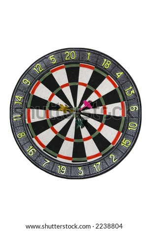 The isolated image of a target for game in a darts with three arrows got precisely in bull's eye